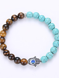 Natural Stone Hand Of Fatima Tiger Eye Stone Add Turquoise Bracelets For Men And Women