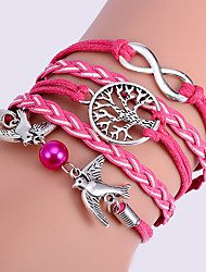 Women's Multilayer Alloy Love Birds Tree and Infinity Handmade Leather Bracelet Christmas Gifts