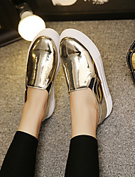 Women's Loafers & Slip-Ons Patent Leather Casual Creepers Silver Gold