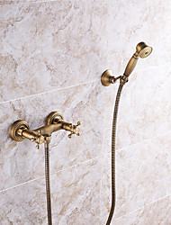 Antique Brass Tub Shower Faucet with 8 inch Shower Head  Hand Shower