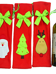 3PCS Santa Claus Christmas Decorations Tie Set Of Champagne Wine Bottle Wine Set Wine Bag Gift Bag
