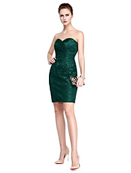 TS Couture® Prom  Cocktail Party Dress - Celebrity Style Sheath / Column Strapless Knee-length Chiffon / Lace with Draping / Lace / Side Draping