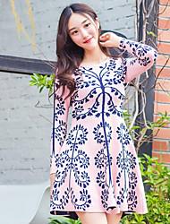Feminino Evasê Vestido, Casual Temática Asiática Jacquard Decote Redondo Acima do Joelho Manga Longa Rosa Lã / Algodão OutonoCintura