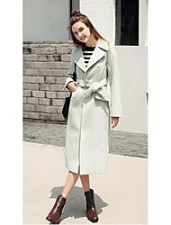 Women's Casual/Daily Simple Coat,Solid Long Sleeve All Seasons Pink / Purple Faux Fur Medium