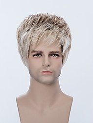 Handsome Cool Short Capless Wigs Natural Straight Human Ombre Hair For Men