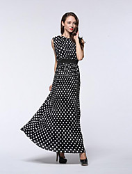 Women's Plus Size / Work / Sports Sexy / Cute / Chinoiserie Chiffon Dress,Solid Round Neck Midi Long Sleeve Black Polyester SummerLow