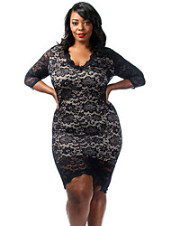 Women's Plus Size Laced Overlay High Low Dress