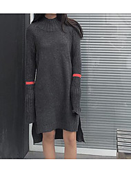 Women's Casual/Daily Simple Sweater Dress,Solid Round Neck Above Knee Long Sleeve White / Black Acrylic Fall / Winter High Rise