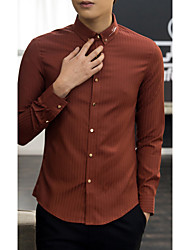 Men's Wedding / Work Vintage / Street chic All Seasons Shirt,Solid Shirt Collar Long Sleeve White Cotton