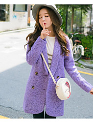 Women's Going out / Casual/Daily Simple Coat,Solid Long Sleeve Fall / Winter Purple Polyester Medium