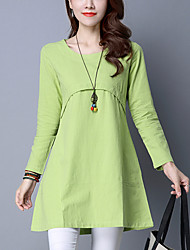 Women's Plus Size / Slim Loose chic A Line / Shift DressSolid Round Neck Mini Long Sleeve Blue / Pink / Green Cotton / Linen Spring