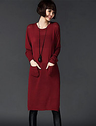 Women's Casual/Daily Simple Sweater Dress,Solid Round Neck Knee-length Long Sleeve Red / Black / Multi-color Nylon Fall / Winter Mid Rise