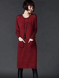 Tricot Robe Femme Décontracté / Quotidien simple,Couleur Pleine Col Arrondi Mi-long Manches Longues Rouge / Noir / Multi-couleur Nylon