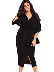 Women's Kimono Sleeve Knotted Pleated Front Plus Size Dress