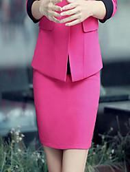 Damen Röcke,Bodycon einfarbigLässig/Alltäglich Mittlere Hüfthöhe Über dem Knie Elastizität Leinen / Polyester Micro-elastisch Herbst
