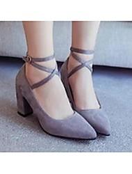 Damen-High Heels-Lässig-VliesKomfort-Schwarz / Grau
