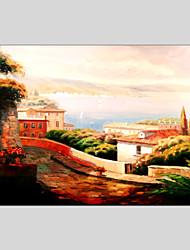 Ручная роспись Пейзаж / Абстрактные пейзажи Картины маслом + Печать,Классика / Средиземноморье 1 панель Холст Hang-роспись маслом For