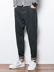Men's Harem Jeans Pants,Casual/Daily Simple Solid Mid Rise Zipper Cotton Inelastic Fall / Winter