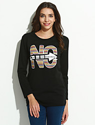 Women's Casual/Daily Simple Short Hoodies,Letter White / Black Round Neck Long Sleeve Cotton Spring Thin