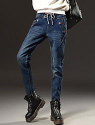 Women's Loose Jeans Pants,Casual/Daily Simple Letter Mid Rise Button Polyester Micro-elastic Fall / Winter
