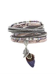 Bracelet Charmes pour Bracelets / Bracelet / Bracelets Wrap / Bracelets en cuir Cuir / Strass / PlumeVintage / Bohemia style /