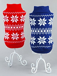 Cat Dog Sweater Red Blue Dog Clothes Winter Spring/Fall Snowflake Classic Christmas New Year's