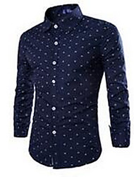 Men's Going out Simple Shirt,Print Square Neck Long Sleeve Blue / Red / White Cotton