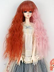 longue ligne droite orange perruque couleur rose crépus bouclés pour luts 1/3 1/4 bjd sd dz poupée pas pour adulte humain