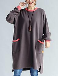 Feminino Solto Vestido, Casual Fofo Sólido Decote Redondo Acima do Joelho Manga Longa Preto / Cinza Algodão Outono / Inverno Cintura Média