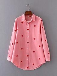 Для женщин На выход На каждый день Все сезоны Рубашка Рубашечный воротник,Простое Очаровательный Вышивка Длинный рукав,Искусственный шёлк