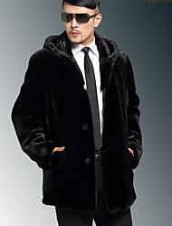 Men's Casual/Daily Simple Fur Coat,Solid Hooded Long Sleeve Winter Black Faux Fur Medium