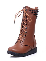 Women's PU Low-top Solid Lace-up Low-Heels Boots