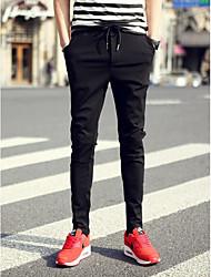 Masculino Skinny Chinos Calças-Cor Única Casual Simples Cintura Média Zíper Algodão Micro-Elástico Com Molas / Outono