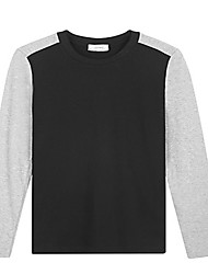 Trenduality® Hommes Col Arrondi Manche Longues T-shirt Noir - 53019
