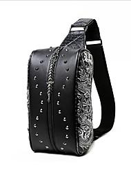 Men Waist Bag PU Casual Outdoor Black Silver Golden