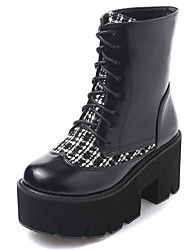 Fashion color matching round head thick with thick bottom Martin female short boots for women's shoes