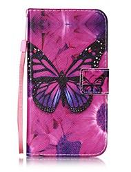 Pour Porte Carte / Portefeuille / Avec Support / Clapet / Motif Coque Coque Intégrale Coque Papillon Dur Cuir PU pour HTC HTC Desire 626