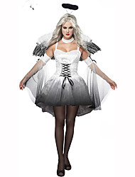 Wizard/Witch Fairytale Festival/Holiday Halloween Costumes White Print Dress Wings HeadwearHalloween Christmas Carnival Children's Day