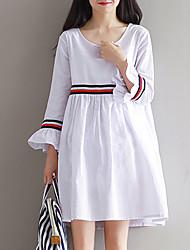 Feminino Solto Vestido, Para Noite estilo antigo Sólido Decote Redondo Acima do Joelho Manga Longa Azul / Branco Algodão / Linho Primavera