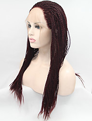 Sylvia Synthetic Lace front Wig Dark Wine Braided Hair Small Braids Heat Resistant Synthetic Wigs For Black Women