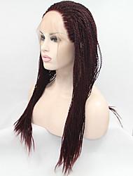 sylvia dentelle synthétique perruque avant cheveux tressés de vin sombre petites tresses chaleur perruques synthétiques résistantes pour