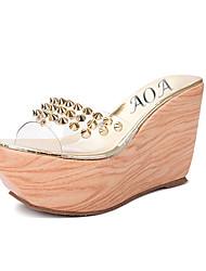 Damen-Sandalen-Lässig-maßgeschneiderte Werkstoffe-Keilabsatz-Fersenriemen-Silber / Gold
