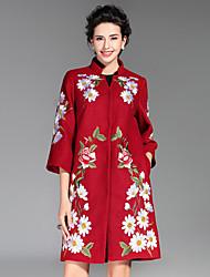 Feminino Casaco Casual / Tamanhos Grandes Temática Asiática Inverno,Bordado Azul / Vermelho / Verde Poliéster Colarinho Chinês-Manga ¾