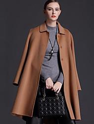 Damen Solide Einfach Lässig/Alltäglich Mantel,Herbst Gekerbtes Revers Langarm Rot / Schwarz / Braun Mittel Wolle