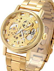 Men's Fashion Hollow Engraving Manual Mechanical Watch with Stainless Steel Strap