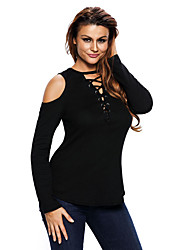 Women's Long Sleeve Cut-out Shoulder Ribbed Top