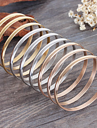Kalen Multi-strand Female Bangles 9pcs/Set 70*6mm Tri-Color Silver Color Gold Plated Rose Gold Plated Stainless Steel Bangles Bracelets Gifts