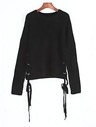 Normal Pullover Femme Décontracté / Quotidien Chic de Rue,Couleur Pleine Noir Col Arrondi Manches Longues Polyester Automne Fin