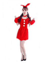 Cosplay Costumes Santa Suits / Bunny Girls Movie Cosplay Red Solid Dress / Headwear Christmas Female Polyester