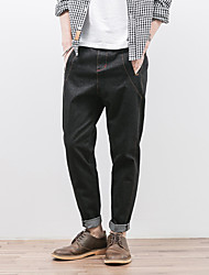 Men's Loose / Harem Jeans Pants,Casual/Daily Simple Solid Mid Rise Zipper Cotton Inelastic Fall / Winter